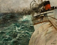 la transatlantique, atlanterhavsdamperen by frits thaulow