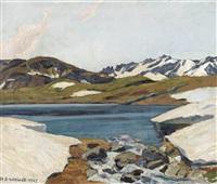 bergsee im frühling by hans beat wieland