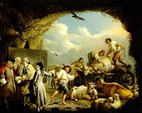 barn scenes with peasants and animals: a pair of paintings by giuseppe gobis