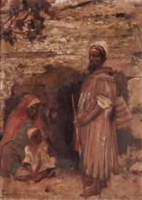 figures by a wall, jerusalem by isaac snowman