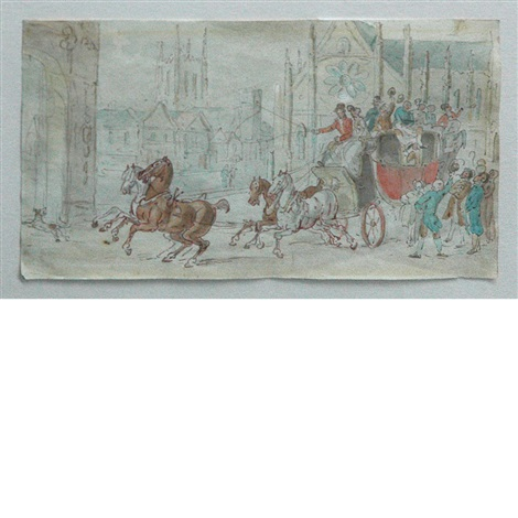 a coach entering a town square by thomas rowlandson