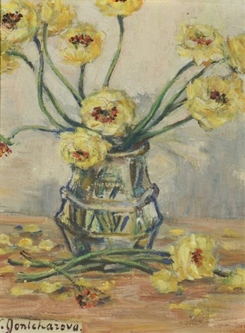 flowers in a glass vase by natalia sergeevna goncharova