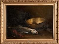 nature morte aux poissons et au cuivre by raymond allègre