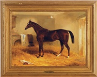 chestnut mare in a stable (+ a companion painting; 2 works) by edward walter webb
