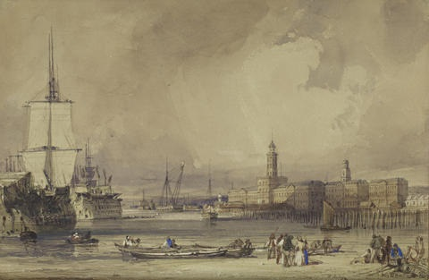 a view across portsmouth with hulks close in and working boats beyond by william callow