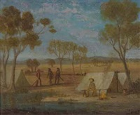 early australian bush camp by charles hill