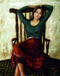 lady seated in a chair by shen che tsai