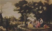 an elegant company resting and drinking in a park landscape by willem van den bundel