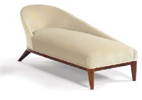 an upholstered rosewood chaise longue, circa 1938 by jean royère