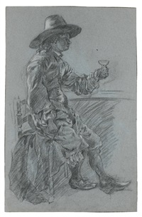 study of a seated man wearing a hat, his hand raised holding a glass (+ study of a seated woman, her arms folded, verso) by jacob adriaensz de backer