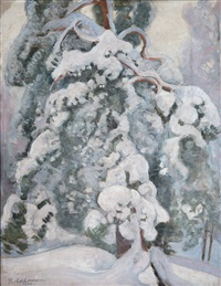 snowy pine-tree by pekka halonen