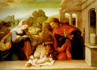 the holy family by amico aspertini