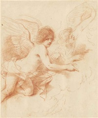 two angels among the clouds, gesturing to an event below by guercino