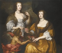 double portrait of elizabeth, lady thimbleby and her sister dorothy, viscountess andover, later countess of berkshire with a cupid by sir anthony van dyck
