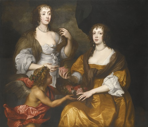 double portrait of elizabeth lady thimbleby and her sister dorothy viscountess andover later countess of berkshire with a cupid by sir anthony van dyck