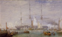 "the return of a battleship to harbor (the second hms ""temeraire""?) by george henry andrews"