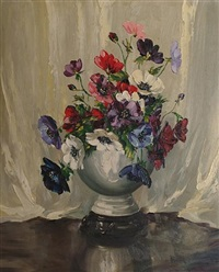 still life of anenomes in a vase by arthur h. twells