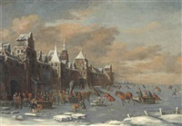 a winter landscape with skaters outside the gates of a city by thomas heeremans