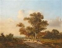 holländische landschaft mit bauern und schafherde by marinus adrianus koekkoek the younger