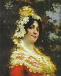 a spanish beauty wearing a shawl by antonio torres