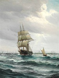 sailing ships off copenhagen. in the background the rigging sheers at holmen and the dome of marmorkirken (the marble church) by vilhelm victor bille