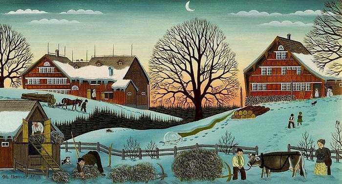 winterabend bäuerliche szenen in appenzeller landschaft by albert manser