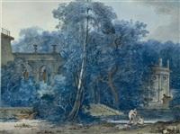 paysage avec des ruines antiques, des femmes se baignant dans un lac au premier plan by antoine pierre mongin