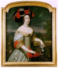 portrait de la grande mademoiselle devant un jardin by louis ferdinand elle the elder