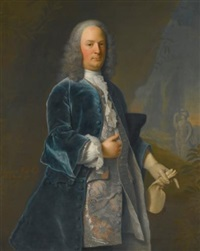 portrait of edward weld (1705-1761) of lulworth castle, in a garden, a statue of minerva beyond by adriaen carpentiers