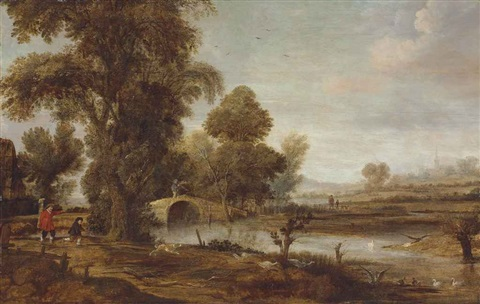 an extensive river landscape with figures in the foreground, a dog chasing geese, and a church beyond by aert van der neer