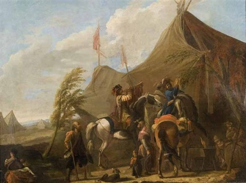 le campement des militaires by philips wouwerman