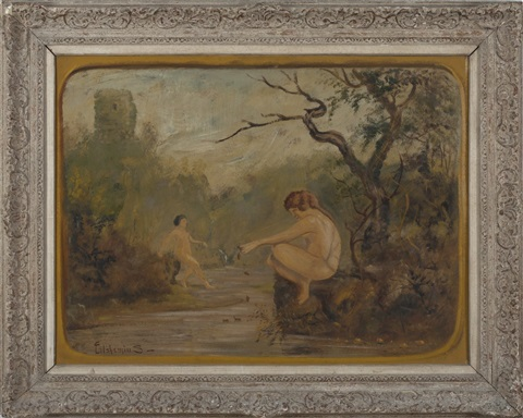 bathers in a romantic landscape with stream by louis michel eilshemius