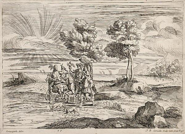 des chasseurs à loiseau from quarante cinq morceaux gravés daprès des dessins du cabinet jabach by jean baptiste corneille