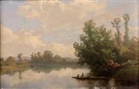 barque sur une rivière by francois antoine leon fleury