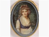 miniature ovale figurant une jeune femme en robe de soie blanche ceinturée de bleu, coiffée de longs cheveux retombant en boucles attachées d'un ruban rouge et vue dans un jardin fleuri by lié-louis périn-salbreux
