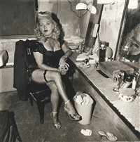 burlesque commedienne in her dressing room, atlantic city, n.j by neil selkirk and diane arbus