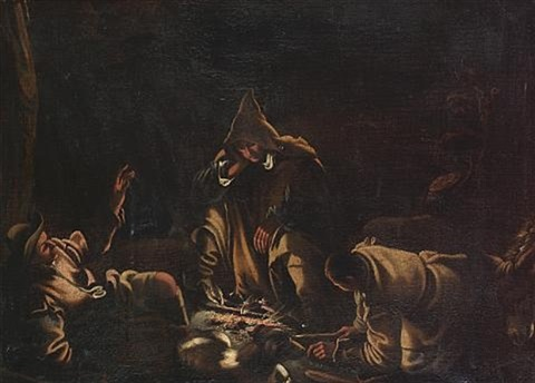 travellers seated around a campfire by gerolamo da ponte bassano