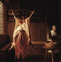 a kitchen interior with a maid by the carcass of a cow by reynier covyn
