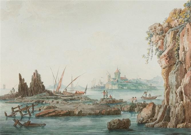 südliche küstenlandschaft mit seehafen und anglern by christoph heinrich kniep