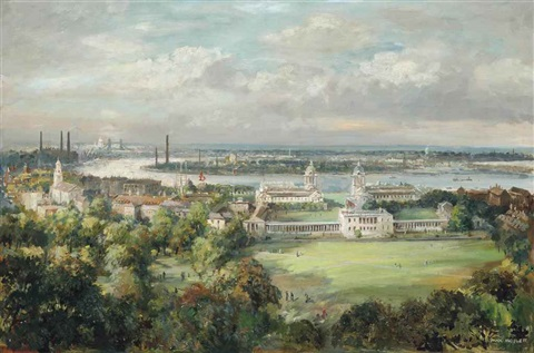 the royal naval college greenwich and an extensive panorama of the thames observed from greenwich park by max hofler