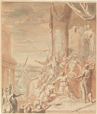 szene aus der römischen mythologie: ein antiker krieger wird dem könig und dem volk präsentiert by flemish school (18)