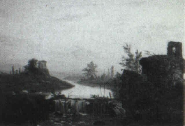 idyllic landscape with ruins, shepherdess, and mill by richard william hubbard
