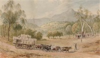 bringing the wool down, mount arrarat in the distance, victoria by edward roper