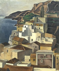 mediterranean coastal town by adrian paul allinson