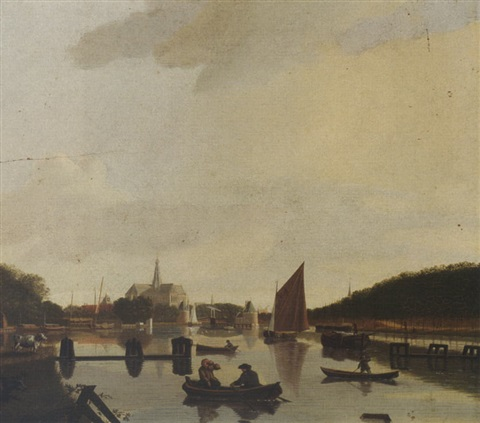 haarlem: a view from the south-east, with the st. bavo and the catharina bridge, the river spaarne in the foreground by hendrik keun
