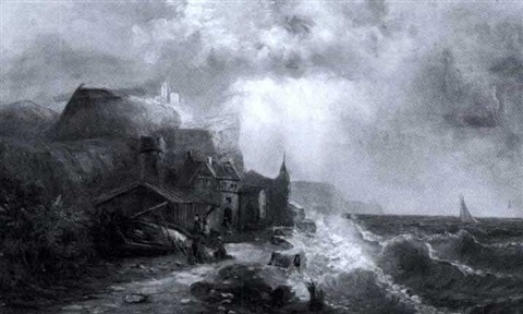 after the storm a coastal village view with figures by anglo american school 19