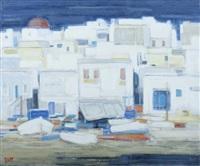 façades devant le port de mykonos, grèce by ginette rapp