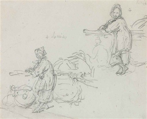 study of a tanka girl a sheet of studies of junks 2 works by george chinnery