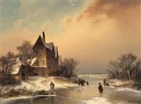 winterlandschaft mit zugefrorenem fluss by dietrich langko