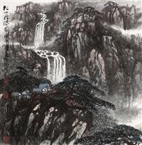 松山飞瀑图 by liu ruyang